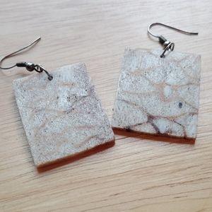 Vintage square stone earrings